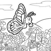 Free Monarch Butterfly and Caterpillars Coloring Images